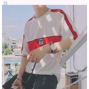 夏★漫画★パッチ★男★スプライシング★ヒットカラー★丸襟★半袖Tシャツ★十代の若者★ルー