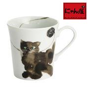 「にゃん屋」★モコ猫マグカップ黒 おすわり(1個箱入り)