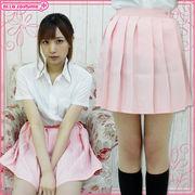 ■送料無料■無地プリーツスカート 色:パステルピンク サイズ:M/BIG