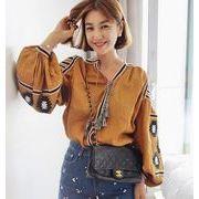 レディースシャツChic シンプル 長袖 綺麗 ファッション 刺繍 tシャツ vネック 7colors