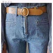 韓国風 新しいデザイン 何でも似合う シンプル メタル PUレザー 女性用 ベルト ベル