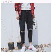 9 分でパンツ足パンツ韓国青年自己メンズ ジーンズのトレンドし、落ちる洗浄の秋の水の穴穴