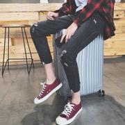 スリム フィート 9 韓国青少年ズボン9パンツ秋冬点滅フラッシュ デザイン メンズ スリ