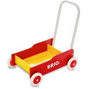 """赤と黄色のコントラストが鮮やかな歩行練習器""""BRIO手押し車(赤)"""""""