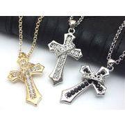 メンズネックレス・ストーン入り王冠掛けクロス 十字架