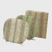 LN1415 川島織物セルコン 花とストライプ シートクッション 48×48 グリーン