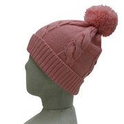 ボンボン縄編みニット帽(全5色)【フリーサイズ/男女兼用】【帽子】