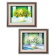 アレックス「風水」油絵額F6 1120240・白い花
