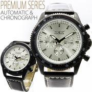 【全針稼動の本格仕様!】マットブラック自動巻きマルチファンクション腕時計【保証書付き】
