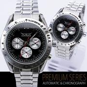 【全針稼動の本格仕様!】★バイカラー自動巻きマルチファンクション腕時計【保証書付】