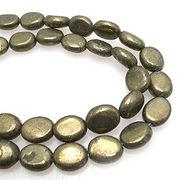 天然石 パワーストーン 卸売/ パイライト・黄鉄鉱 オーバルビーズ 10x8ミリ 1連