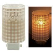 Plastic Aroma Concent Lamp PP アロマコンセントランプ チェック&レース:ブラウン◆室内照明