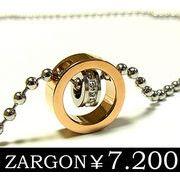 【ZARGON】ザルゴンダイヤモンドCZステンレスネックレス/ピンクゴールド/ステンレスアクセサリー