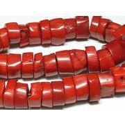 珊瑚(染色) 連販売 真紅 枝輪切り 約17×8mm