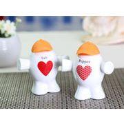 【強化】 調味料入れ 人形型シリコンキャップ付き 塩 2個セット (キャップの色はオレンジ色)