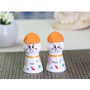 【強化】 調味料入れ 雪だるま型シリコンキャップ付き 塩 2個セット(キャップの色はオレンジ色)