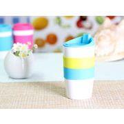【強化】 425ml単層陶器製タンブラー(水色)  【シリコンバンドの色で選ぶ】