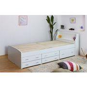 A187-01-S 友澤木工 棚付カントリー調多収納桐すのこベッド シングル ホワイト