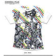 ★圧倒的な存在感!★フルカラーインクジェットプリントのスカルレインボーがインパクト大の半袖Tシャツ★