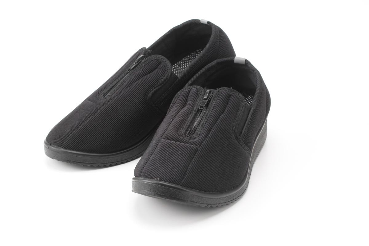 高齢者のための足に優しいファスナー式楽ちんシューズ【男性用】シルバー老人ホーム用靴