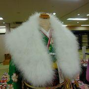 【激安:成人式の必需アイテム】 羽毛ショール/ホワイト。箱付き