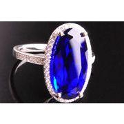 Q100234◆即納◆豪華なブルーのサファイア925純銀リング・デザインジュエリー