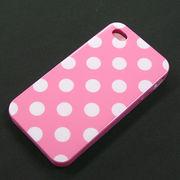 ★SALE★【I4/TPU】auソフトバンク iPhone4/S (アイフォン4) ピンク ホワイトドット柄 ソフトTPU