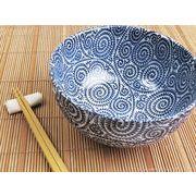 【麺メニューに気品を添えて】 藍染の伝統美 たこ唐草 どんぶり