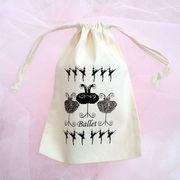 バレエ巾着袋 ナチュラルMサイズ/チュチュバレリーナ衣装柄小袋