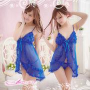 【ブルー】フリルたっぷりベビードール&Tバック・ランジェリー 8350