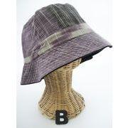 【色掛けの為値下】綿リバーシブル帽子♪ナチュラル彩色カスリ綿ハンドクラフト木綿ハット♪1025