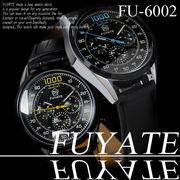 【ケース・保証書付】◆腕時計 自動巻 革バンド 24針 DAY&DATE 日付 曜日 ◇FU-6002