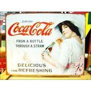 アメリカンブリキ看板 コカ・コーラ ストローで飲む