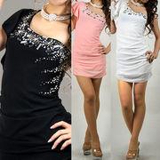 シフォン胸元パールビジュ ワンショルショートドレス