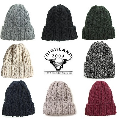 HIGHLAND2000 ハイランド2000 ケーブル編み ニットキャップ 帽子 ニット帽
