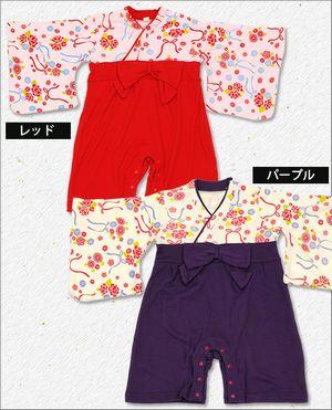 巫女服風 ベビー用ロンパース (桃の節句/花柄/和服/フォーマル)