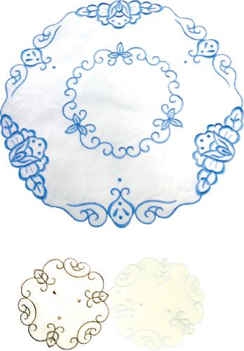 刺繍テーブルマット(丸型φ30cm) 124-04