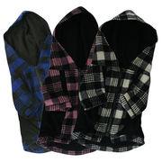 チェック柄ジップアップ フード付きジャケット[ピンク×ブラック]【犬服】