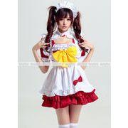 赤*黄色蝶リボン メイド服 家政婦 ハロウィン衣装 コスプレ衣装