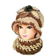 帽子 レディース ニット帽子Cマフラーセット 毛糸帽子 6色