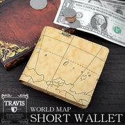 ★8201059★TRAVIS 大人気の世界地図柄 横型BOX式小銭入れショートウォレット