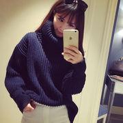 【即納】 ニット セーター チュニック トップス タートル ハイネック ケーブル 編み ゆったり ドルマン