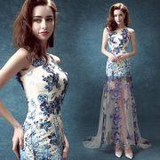 ウエディングドレス 豪華なロングドレス パーティー/二次会 刺繍 宴会ドレス 結婚式 花嫁