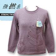 綿混地柄セーター【4色展開】植物