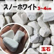 【期間限定5%OFF】【送料無料】玉石砂利 スノーホワイト/白色 粒3-4cm 300kg(約4平米分)