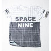 SPACE NINE クルーネック デザイン Tシャツ チェック柄