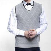 アーガイルケーブル   ビジネス   プルオーバーVネック    紳士服ニットベスト   通勤メンズセーター