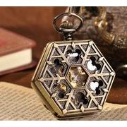 ■懐中時計■  機械式手巻ネックレス時計  六角形