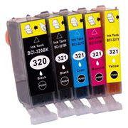 【1年保証付・チップ付】 CANON 互換インクカートリッジ BCI-321+320 5色