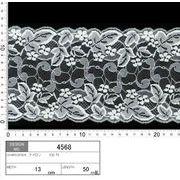 【メーカー直販】★レース巾13cm 透け感のあるリーフ柄(葉柄)中心の花柄レース 5m~/オフ白